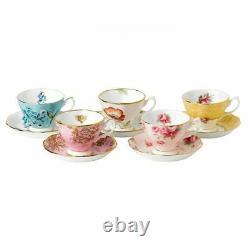 100 Years Of Royal Albert 1950-1990 5-Piece Teacup & Saucer Set New
