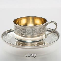 12 Antique French Sterling Silver Chocolate Tea Coffee Cup & Saucer Set Tallois