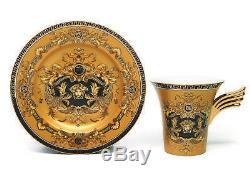 12 Piece Euro Porcelain Medusa Fine Bone China Tea Cup Sets Gold Wing Handle