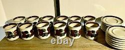 12 SET / RUIJA CHOCOLATE / TEA MUG CUP & SAUCER ARABIA FINLAND 8,8cm8.5cm