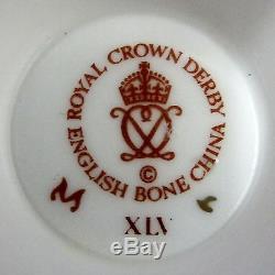 12 Vintage English Royal CROWN DERBY Tea CUP Cups Set Twelve ELIZABETH Blue only