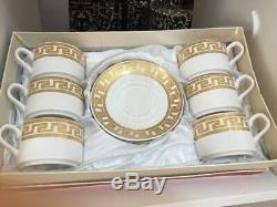 12 pcs Golden Coffee Tea Cups & Saucers Set With Gift Box Luxury Style Ideal Gif