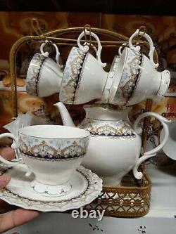 14 Pc Set Bone China Royal Luxury Style Tea Coffe Teapot Cup Saucer Stand