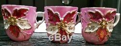 14 pc. Antique Pink & Gold Raised Flower small tea Cup teacup Saucer Set GERMANY