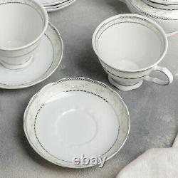 14-pc White Porcelain Tea Set with Floral Pattern by Dobrush Belarus EUROPEAN