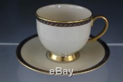 16 Pc VTG Lenox Hamilton Porcelain Presidential Cobalt Tea Cup & Saucer Set