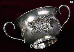 1800 WAI KEE Asian Chinese Export Dragon Set of 6 Silver Gilt Tea Cup Goblets
