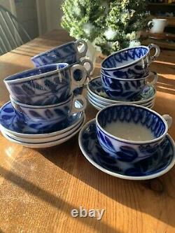 1850's Antique Flow Blue Spinach Brush Stroke Set of 8 Tea Cups & Saucers