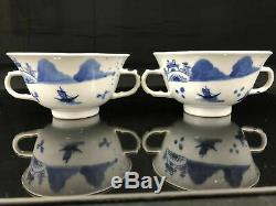 18/19th C Chinese Export Porcelain Blue & White Tea Cup & Saucer (set of2) (#24)