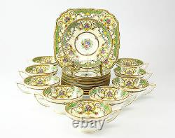 18pc +1 Minton Tea Cup and Saucer Kenora Set with Cake Plate Hand Colored