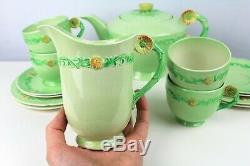 1930s Art Deco Carlton Ware Buttercup Garland Tea Set Teapot Cup Saucer Plates