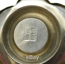 1940's Set 4 Chinese Pewter Tea Cup & Saucer Calligraphy Mk Plum Blossom Shaped
