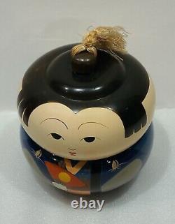 1950s 2 Piece Set JAPANESE Kokeshi Doll Lacquer Ware Lidded Bento BOX Teacup