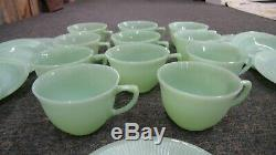 20 Piece Fire King Jane Ray Jadeite Teacup and Saucer Set