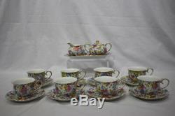 20pc Two's Company JENNIFER & JULIETTE Floral Chintz Tea Cup & Saucer Set for 8