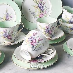 21 piece vintage Paragon tea set / service cake plate, teacup trios, jug + bowl