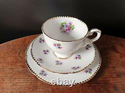 21x Royal Stafford Bone China Sweet Violets Tea Cups Trio Tea Set Saucers Cream