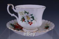 24 Pc Royal Albert Poinsettia Christmas Porcelain Footed Tea Cup & Saucer Set