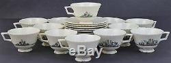 24 Piece Vintage Signed Lenox Rutledge Gold Gilt Floral Tea Cup & Saucer Set