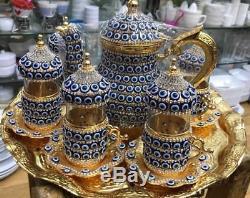 28 Pc Turkish Arabic GLASS TEA Cup Saucer TEAPOT EVIL EYE Decorated Crystal Set