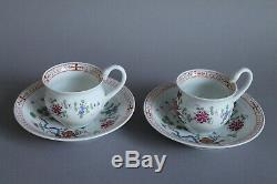 2 Meissen Coffee Tea Cup & Saucer Sets Chinoiserie Rock And Bird Swan Handles