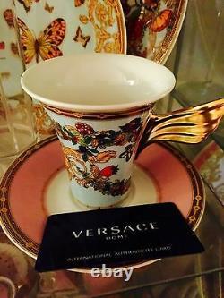 $320 Versace Le Jardin Cup Saucer Set Coffee Tea Tall Light Blue New In Box Sale
