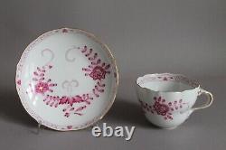 3 pc Coffee Tea Cup Set Meissen Purple Indian Pink Flowers Crossed Swords