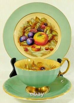 3pc Trio Set AYNSEY ENGLAND Orchard Fruit TEAL Tea Cup Saucer & Dessert Plate
