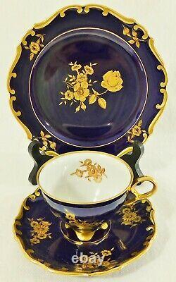 3pc Trio Set JLMENAU Germany Cobalt Blue 24K Gold Tea Cup Saucer Dessert Plate