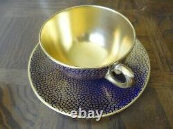 4 Coalport Sets Of Heavy Gold And Cobalt Blue Teacup & Sauce Birks & Son's LTD