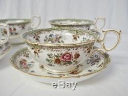 4 Hammersley & Co Asiatic Pheasants Cups & Saucers #6908 Tea Cup Saucer Set H&Co