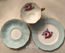 4 Sets Very Rare- Royal Albert Painters Rose Gold Trim Tea Cup, Plate & Saucer