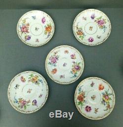 5 Richard Klemm Tea Cup & Saucer Set Dresden Hand Painted Floral Antique