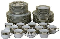 60 Pc Christian Dior Gaudron White & Gold China Set Plates Bowls Tea Cups Rings