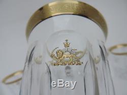 6 Large Rare Persia Moser Pahlavi Bohemia Persian Tea Juice Glass Cup Set In Box