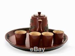 6 Pc Chinese Fujian Fuzhou Foochow Wood Lacquer Dragon Teapot Tea Cup Tray Set