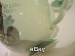 6 Vintage Royal Copenhagen Aluminia Faience Nils tea cup set with teapot