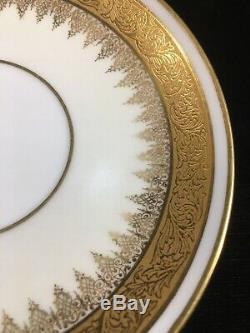 (6 sets) M. Redon Limoges/PL GOLD ENCRUSTED TRIOs (Teacup, Saucer, Bread Plate)