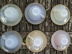 6 x Vintage 1960's Arcopal Pastel Opalescent Vintage 16 piece Tea Set cup cute