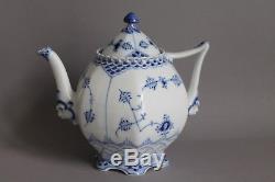 9 pc Royal Copenhagen Blue Fluted Full Lace Tea Set For 2 Persons Teapot Cup 1st