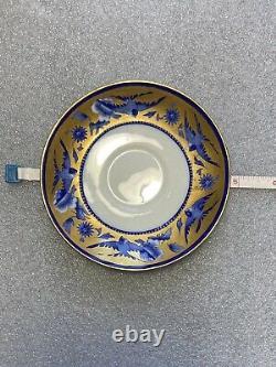 ANTIQUE WILEMAN SHELLEY BLUE SWALLOWS GILDED TEACUP & SAUCER Fine Bone China Set