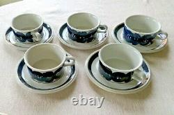 ARABIA FINLAND Ulla Procope Anemone Blue Demitasse Coffee Teacup Saucer Set of 5