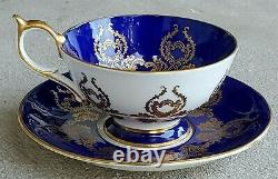 AYNSLEY Cobalt Blue Cabbage Rose Signed J. A. Bailey Teacup and Saucer Set