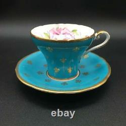 AYNSLEY FLEUR DE LYS TEAL / BLUE TEA CUP & SAUCER SET With PINK CABBAGE ROSE CS93