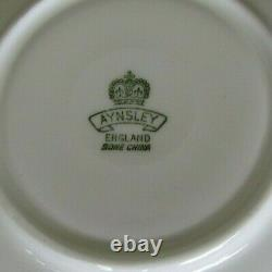 AYNSLEY Hand Painted Cabbage Roses Teacup and Saucer Set England Bone China