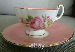 AYNSLEY Pink Hand Painted Cabbage Roses Teacup and Saucer Set England Bone China