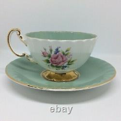 AYNSLEY Vintage Cabbage Rose Sage Green Tea Cup and Saucer Set