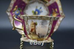 Adolph Hamann Dresden German Quatrefoil Red Harbor Scenes & Gold Tea Cup Set