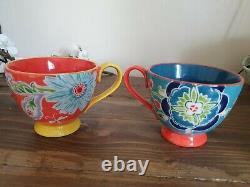 Anthropologie Set Of 6 Pedestal Mugs Large Floral Multicoloured Boho