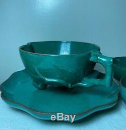 Antiq Chinese Qing Republic Yixing Zisha Pottery Jade Green Glaze Teacup Tea Set